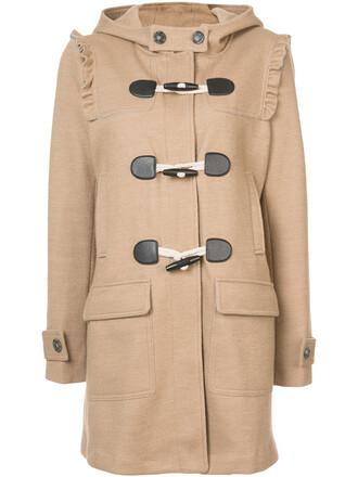 coat duffle coat women cotton wool brown