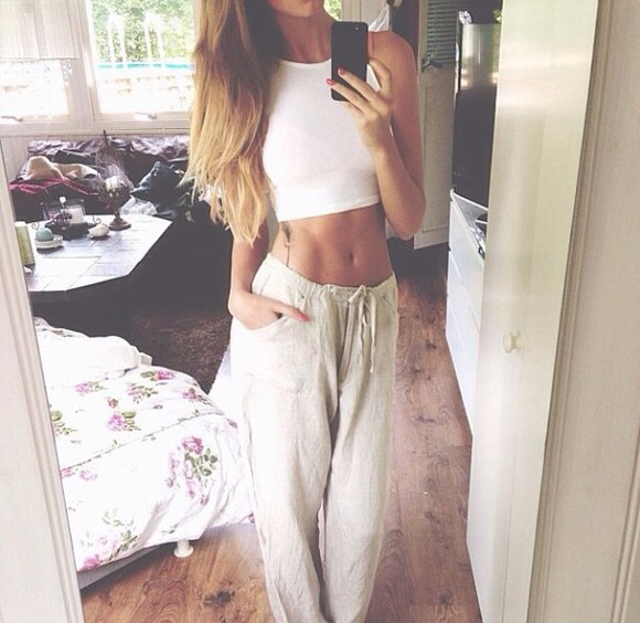 pants baggy pants tank top white crop top baggy, white loose pants ivory loose fit pants crop white trousers, white pants oatmeal