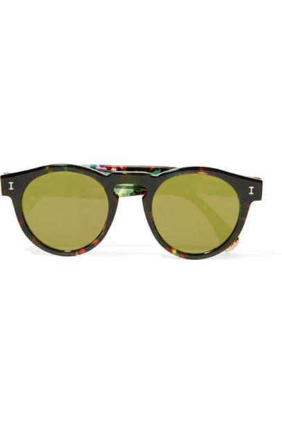 Illesteva - Leonard Round-frame Acetate Mirrored Sunglasses - Tortoiseshell