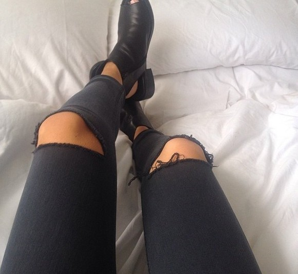 jeans shoes fashion black jeans ripped jeans