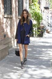 something navy,coat,shoes,bag,dress