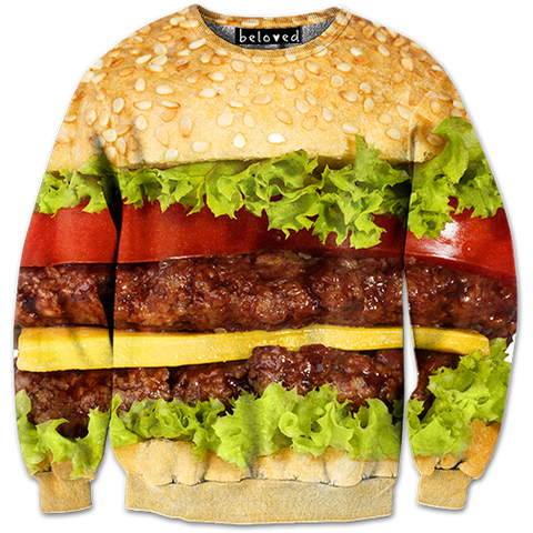 Burger Sweatshirt - READY TO SHIP