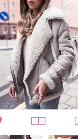 coat winter coat grey coat shearling jacket grey jacket faux fur grey jacket biker jacket