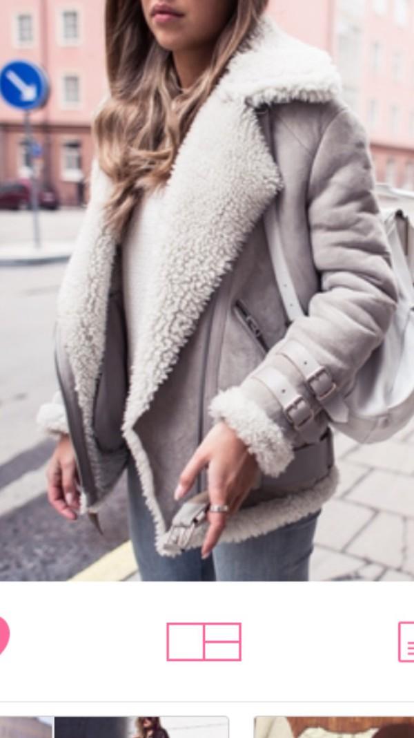 Coat: winter coat, grey coat, shearling jacket, grey, jacket, faux ...