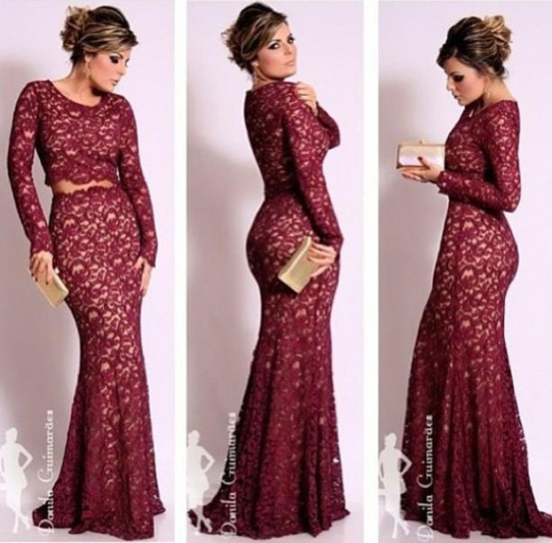Aliexpress.com : Buy Fashionable Crop Tops Dress Long Sleeve Lace Mermaid Jewel Neckline Evening Dresses 2014 Vestidos De Festa from Reliable lace boutique dresses suppliers on Suzhou Babyonlinedress Co.,Ltd