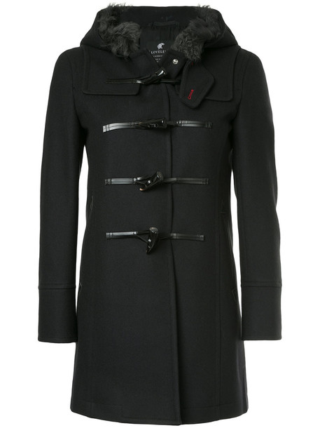 coat duffle coat women black wool