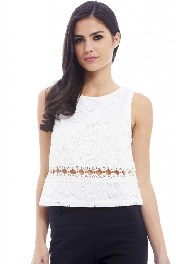 top cream top open detail crochet detail sleeveless top crop tops www.ustrendy.com