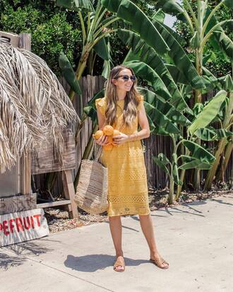dress midi dress lace dress yellow yellow dress sleeveless sleeveless dress bag shoes slide shoes tumblr