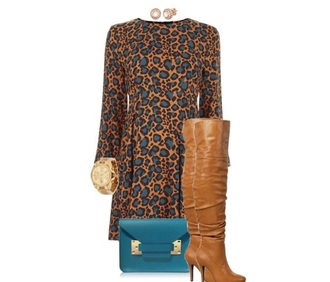 dress leopard print fall outfits long sleeve dress knee high boots