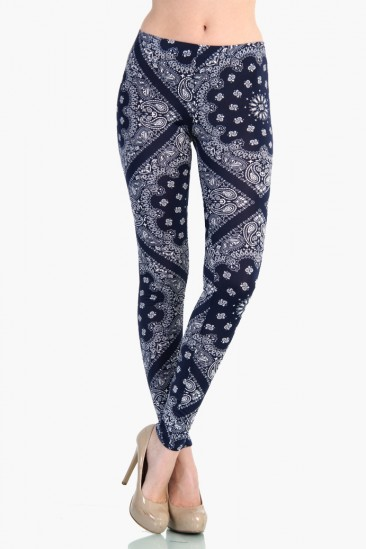 LoveMelrose.com From Harry & Molly | Antique Pattern Leggings - Blue