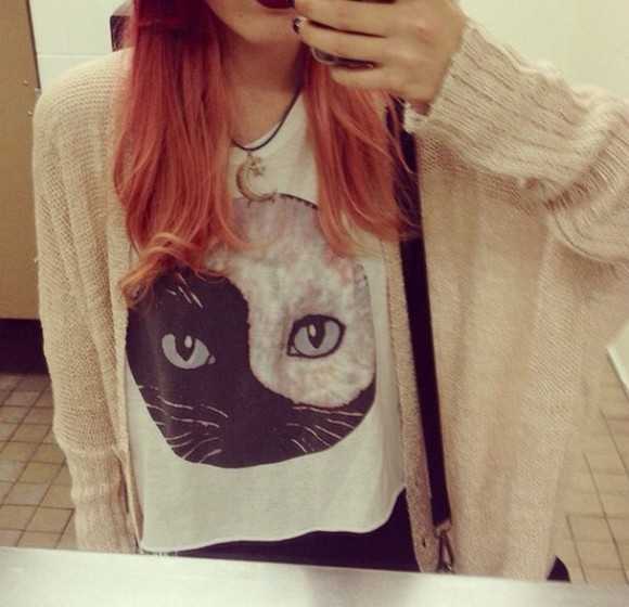 cats grunge shirt top ying yang