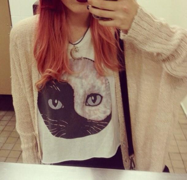 shirt top cats yin yang grunge cardigan jewels