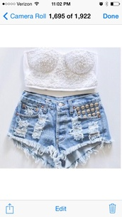 blouse,crop tops,bustier,studded shorts,i need im inlove