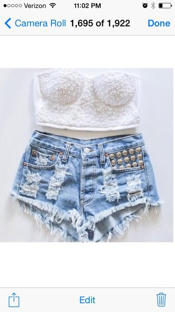 blouse crop tops bustier studded shorts i need im inlove