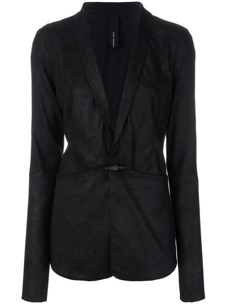 ISABEL BENENATO blazer women leather cotton black jacket