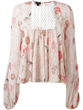 blouse floral print purple pink top