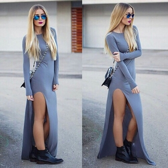 dress long dress long sleeve dress long dresses 2014 grey dress slit dress slit maxi skirt bag sunglasses street streetwear streetstyle streetlook dope pretty cute gorgeous tumblr tumblr outfit tumblr dress tumblr girl blogger fashionista chill rad casual outfit idea fashion inspo cool on point clothing trendy stylish style accessories