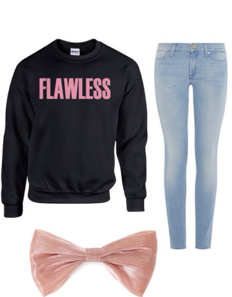 sweater beyoncé shirt jeans bows
