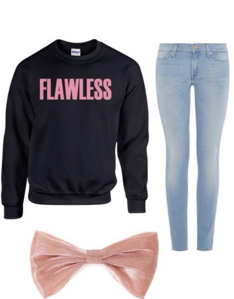 sweater beyoncé shirt jeans bows