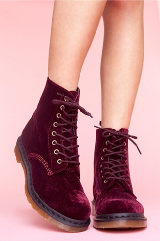 shoes velvet drmartens grunge laced shoes boots burgundy velvet shoes red velvet suede boots