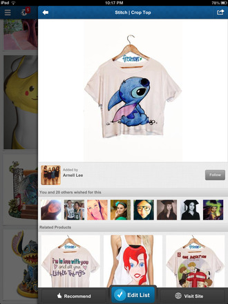 shirt lilo and stitch disney blue crop tops tank top stitch white t-shirt blouse freshtops cute top lilo&stitch colour: white and blue style: crop top picture: stitch print cute top disney top clothes