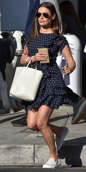 dress,polka dots,polka dots dress,lea michele,sneakers