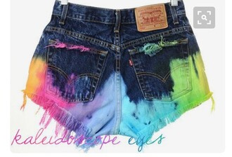 shorts tie dye multicolor denim shorts