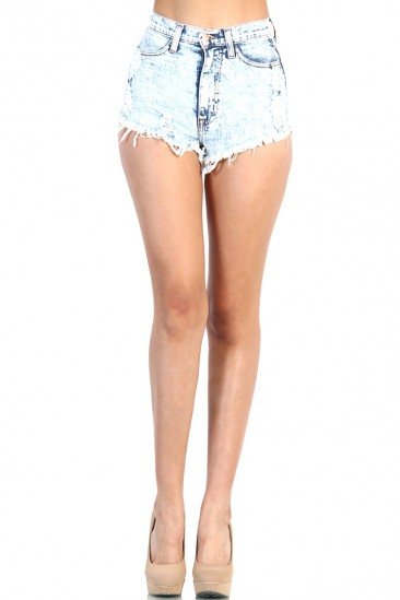 LoveMelrose.com From Harry & Molly | Back Pocket Folded Denim Jean Short - Light Acid Wash