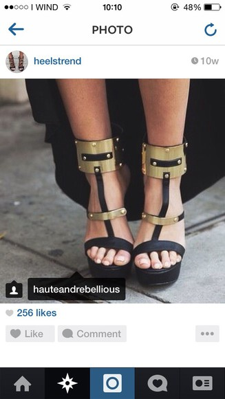 high heels black heels black ankle heels gold heels open toes girly style want this