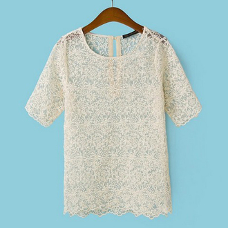 top blouse t-shirt off-white cute top transparent shirt embroidered