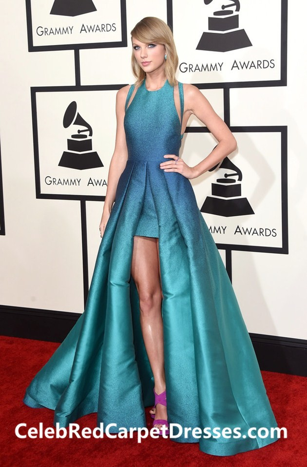 Taylor Swift Blue Prom Dress Formal Evening Gown Grammys 2015 Red Carpet