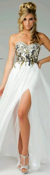 prom dress white dress elegant dress classy golden gold dress slit dress slit leg