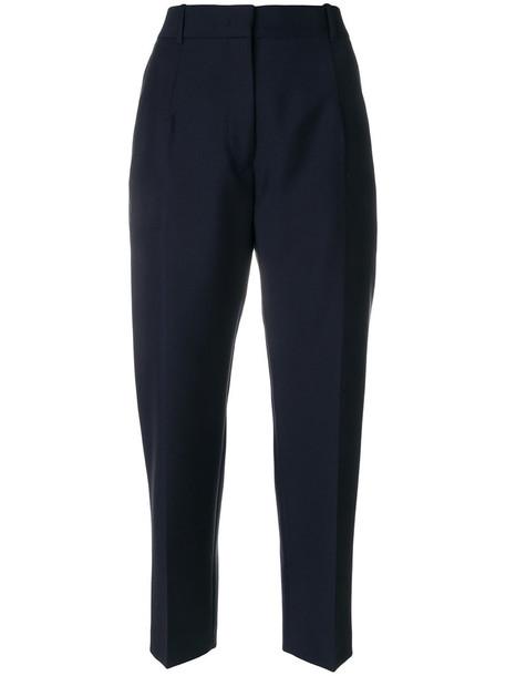 Jil Sander cropped women cotton blue wool pants