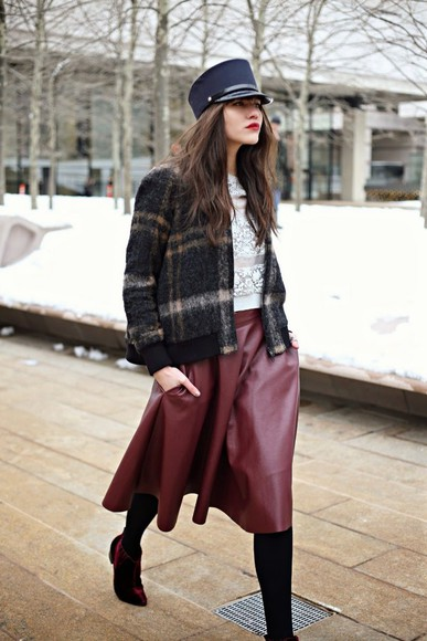 natalie off duty hat shoes jacket skirt bag t-shirt
