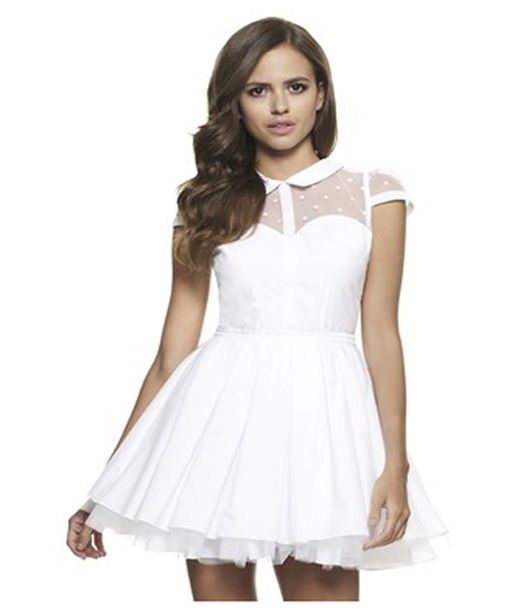 dress white skater dress with sleeves dress with mesh