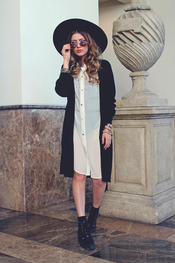 fated to be hated blogger sunglasses cardigan fall outfits combat boots blouse