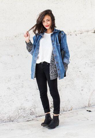 jacket white shirt grey cardigan denim jacket black jeans black boots blogger