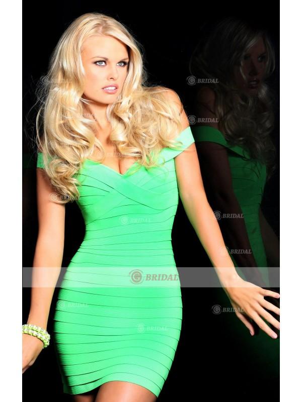 Sheath/Column Off-The-Shoulder  Short/Mini Elastic Satin Sleeveless Cocktail Dresses