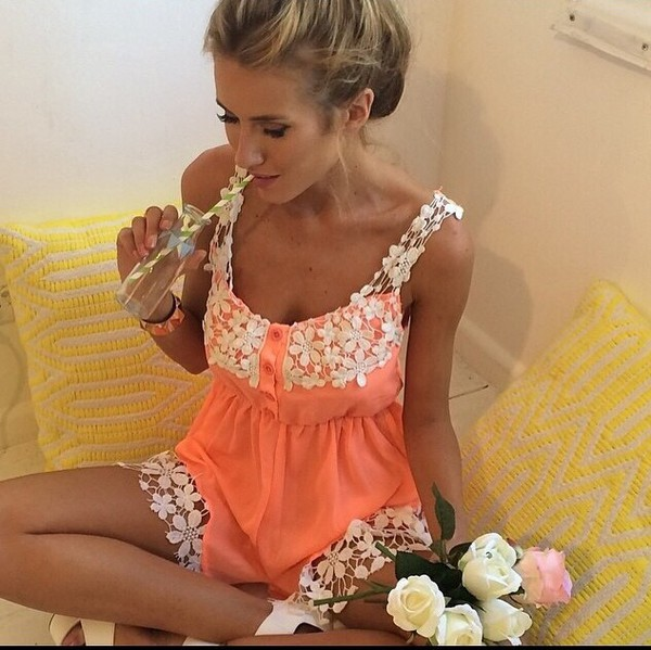 romper lace romper orange romper