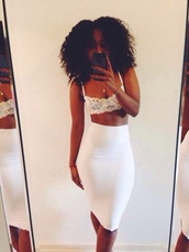 skirt,white pencil skirt,ebonylace.storenvy,ebonylace-streetfashion,white skirt,white,bralette,tank top,shirt,white shirt,underwear,blouse,buister,bra,midi,lace,crop tops,midi skirt,all white everything,bralet top corset bra,dress,lace top,knee length,coke white all white,white long skirt,white bustier,white bralette,white maxi skirt,clothes,summer outfits,tumblr outfit,girly,latrice,top,lace crop top,pencil skirt,curly hair,withe skirt,where to get this shirt and top?,fashion,bodycon,high waisted,two-piece