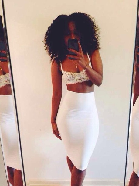 Skirt: white pencil skirt, ebonylace.storenvy, ebonylace ...
