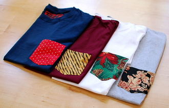 shirt t-shirt pockets pattern solid pocket t-shirt blue red white front pocket cool polka dots print floral tiger