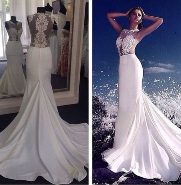 White a Line Long Prom Dresses