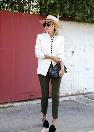 jacket hat tumblr blazer white blazer pants green pants shoes mules black shoes sun hat straw hat