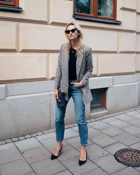 jacket tumblr blazer grey blazer top black top denim jeans blue jeans sunglasses cat eye pumps bag