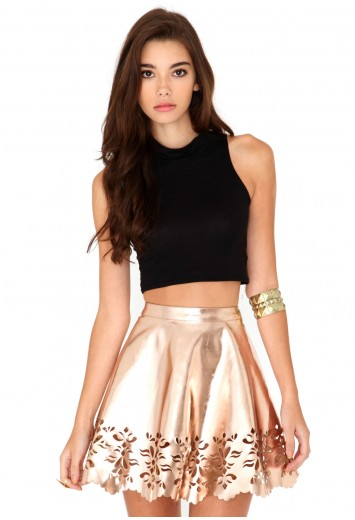 Jandy laser cut skater skirt in rose gold