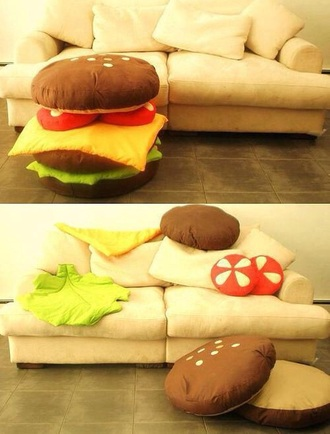 home accessory hamburger pillow cute dress lovely weird grunge bean bag