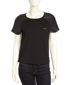 Faux-Leather Raglan-Sleeve Tee, Black