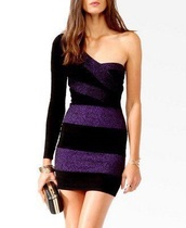 dress,black and purple color block  dress.