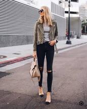 jacket,suede jacket,biker jacket,blouse,black jeans,skinny jeans,ripped jeans,mid heel pumps,handbag,sunglasses